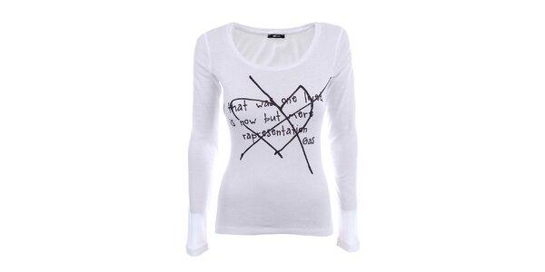 Dámske biele tričko s dlhým rukávom a čiernou potlačou Gas