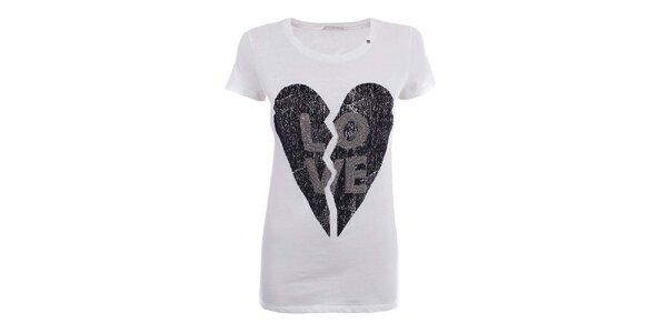 Dámske biele tričko so zlomeným srdcom Gas