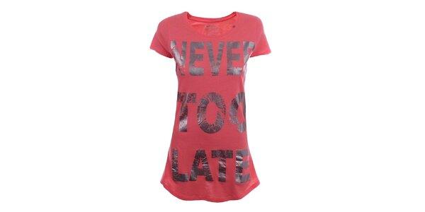 Dámske červené dlhé tričko s nápisom Gas