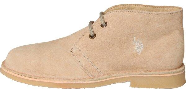 Dámske svetlo béžové semišové topánky U.S. Polo