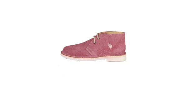Dámske ružové šnurovacie topánky U.S. Polo