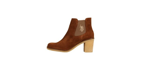Dámske karamelovo hnedé semišové topánky U.S. Polo