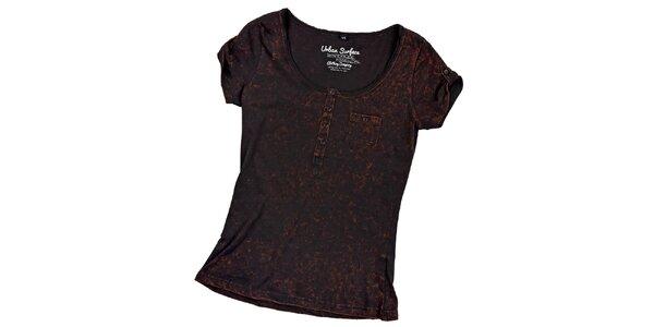Dámske čierne tričko s náprsným vreckom Urban Surface