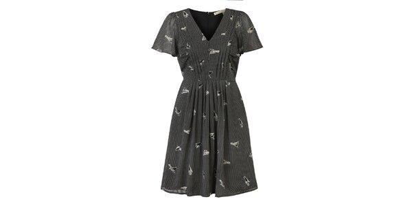 Dámske čierne bodkované šaty s potlačou vtáčikov Uttam Boutique