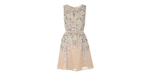 Dámske púdrové šaty s kvietkami Uttam Boutique