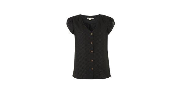 Dámska čierna blúzka s krátkymi rukávmi Uttam Boutique