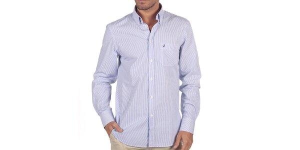 Pánska biela košeľa s modrými prúžkami Nautica