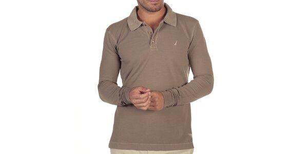 Pánske béžové polo tričko s dlhým rukávom Nautica