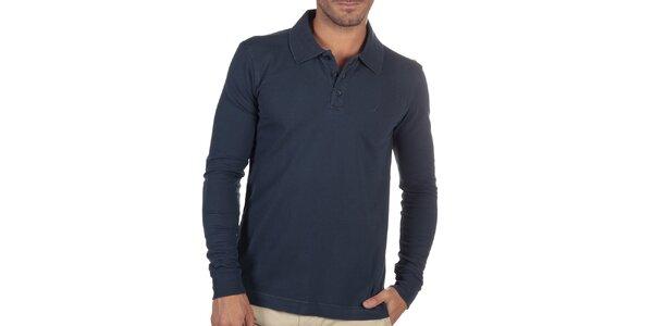Pánske tmavo modré polo tričko s dlhým rukávom Nautica