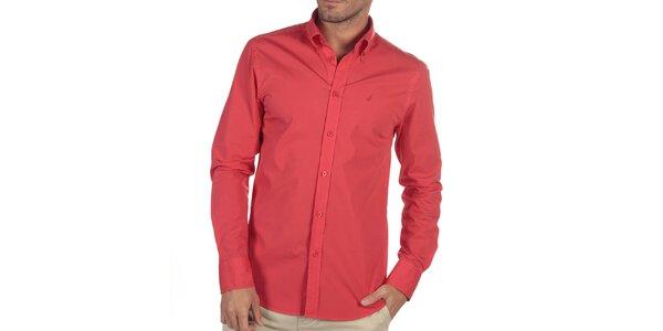 Pánska červená košeľa s dlhým rukávom Nautica