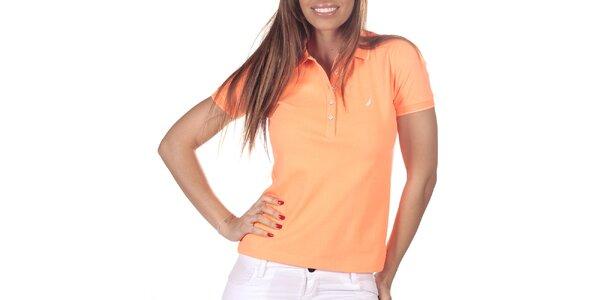 Dámske oranžové polo tričko s krátkym rukávom Nautica