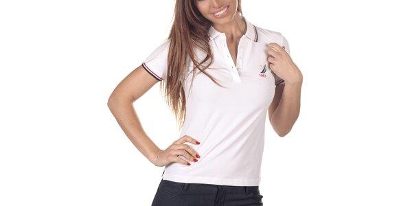 Dámske biele polo tričko s krátkym rukávom Nautica