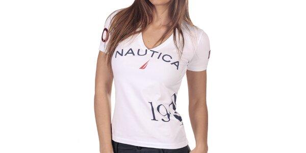 Dámske biele tričko s véčkovým výstrihom Nautica
