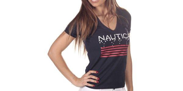 Dámske tmavo modré tričko s potlačou Nautica
