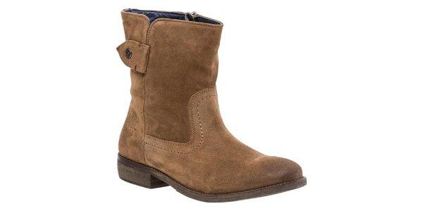 Dámske hnedé členkové topánky so zipsom Tommy Hilfiger