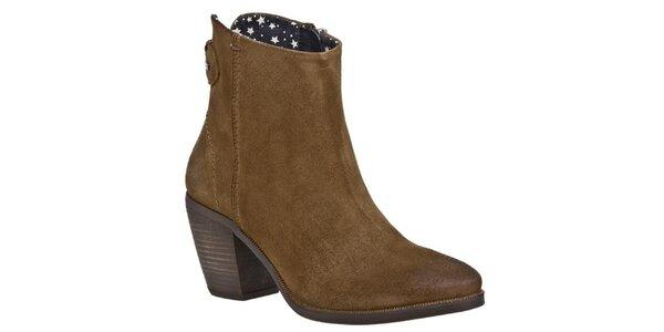 Dámske hnedé členkové topánky Tommy Hilfiger