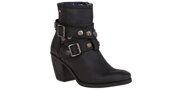 Dámske čierne členkové topánočky so zdobenými remienkami Tommy Hilfiger