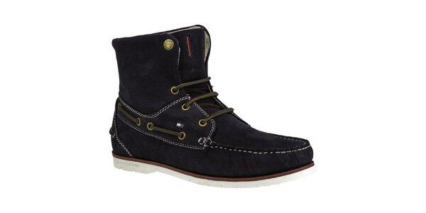 Pánske tmavomodré členkové topánky s koženými šnúrkami Tommy Hilfiger