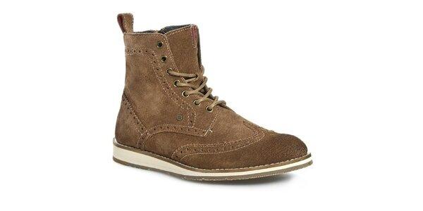 Pánske hnedé členkové topánky Tommy Hilfiger