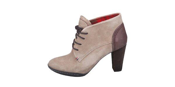 Dámske svetlo béžové topánky so šnurovaním Tommy Hilfiger