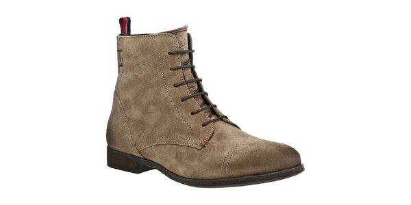 Dámske semišové topánky so zipsom a šnúrkami Tommy Hilfiger