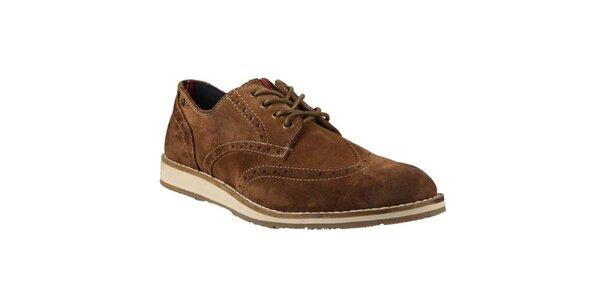 Pánske hnedé topánky s prešívaním Tommy Hilfiger