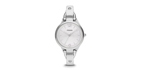 Dámske oceľové hodinky s bielym koženým remienkom Fossil
