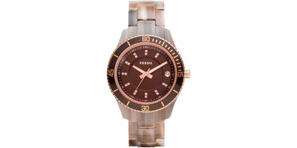 Dámske hnedé hodinky so zirkónmi Fossil