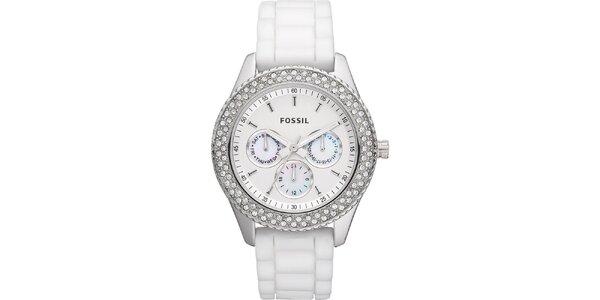 Dámske biele hodinky so zirkónmi a chronografom Fossil
