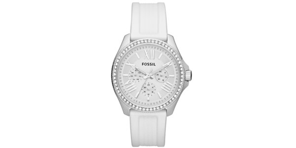 Dámske strieborné hodinky s bielym ciferníkom Fossil