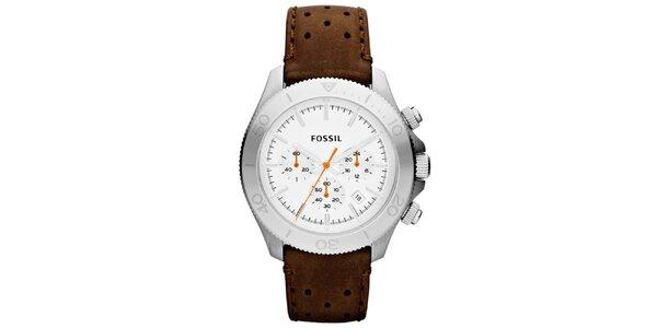 Pánske analógové hodinky s koženým remienkom Fossil