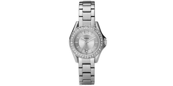 Dámske strieborné hodinky s bielymi zirkónmi Fossil