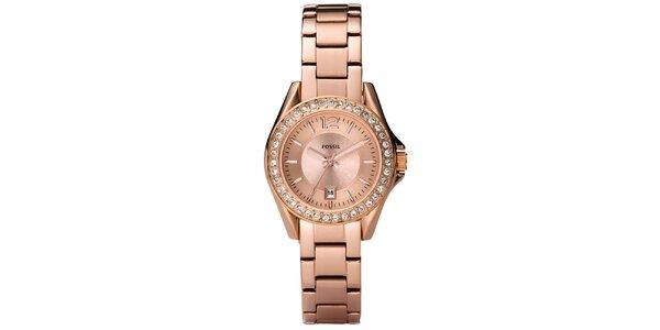 Dámske ružovo zlaté hodinky s bielymi zirkónmi Fossil