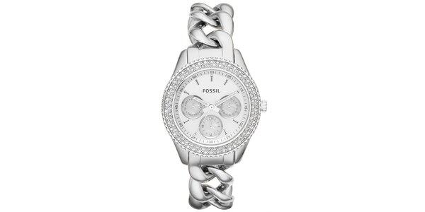 Dámske strieborné hodinky s retiazkovým remienkom a zirkónmi Fossil