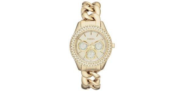 Dámske pozlátené hodinky s retiazkovým remienkom a zirkónmi Fossil
