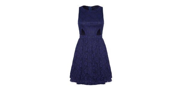 Dámske modré čipkové šaty s prestrihmi Iska