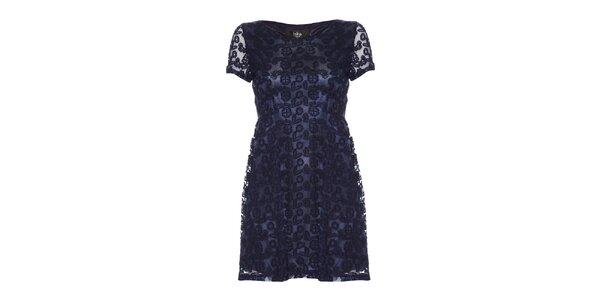 Dámske modré šaty s kvetinovým vzorom Iska