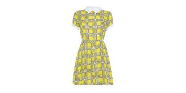 Dámske žlté vzorované šaty s golierom Iska