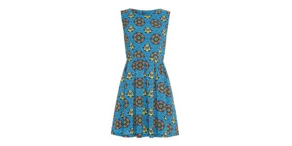 Dámske modré šaty s farebnými vzormi Iska