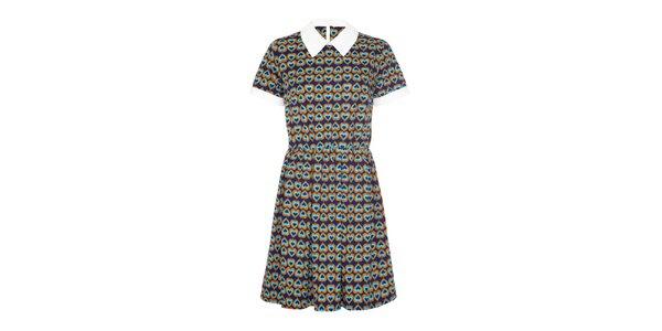 Dámske modré šaty so srdiečkovým vzorom Iska