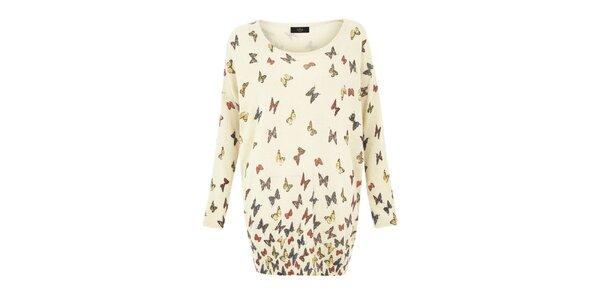 Dámsky smotanový oversized sveter s motýlikmi Iska