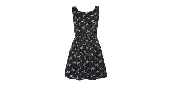 Dámske čierne šaty s potlačou Iska