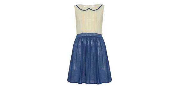 Dámske šaty s golierom a modrou sukňou Iska