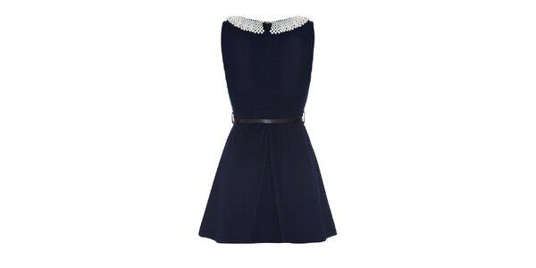 Dámske tmavo modré šaty s perlovým golierom Iska