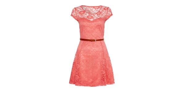 Dámske ružové šaty s čipkou Iska