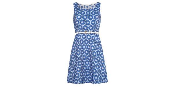 Dámske modré šaty s opaskom Iska
