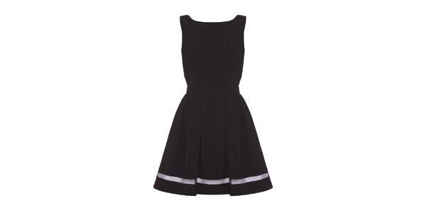 Dámske čierne šaty so zaväzovaním Iska
