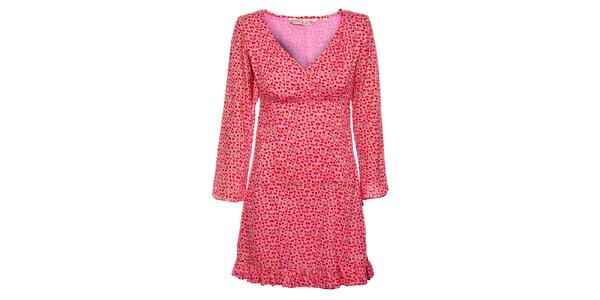 Dámske ružové šaty s potlačou kvetín Savage Culture