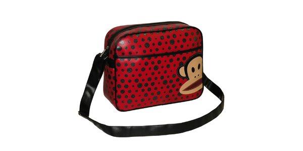 Červená taška cez rameno s bodkami Paul Frank