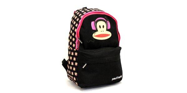 Čierny ruksak s ružovými prvkami Paul Frank